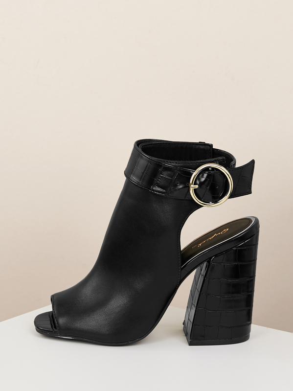 f85221426ff Croc Embossed Block Heel Booties Sandals