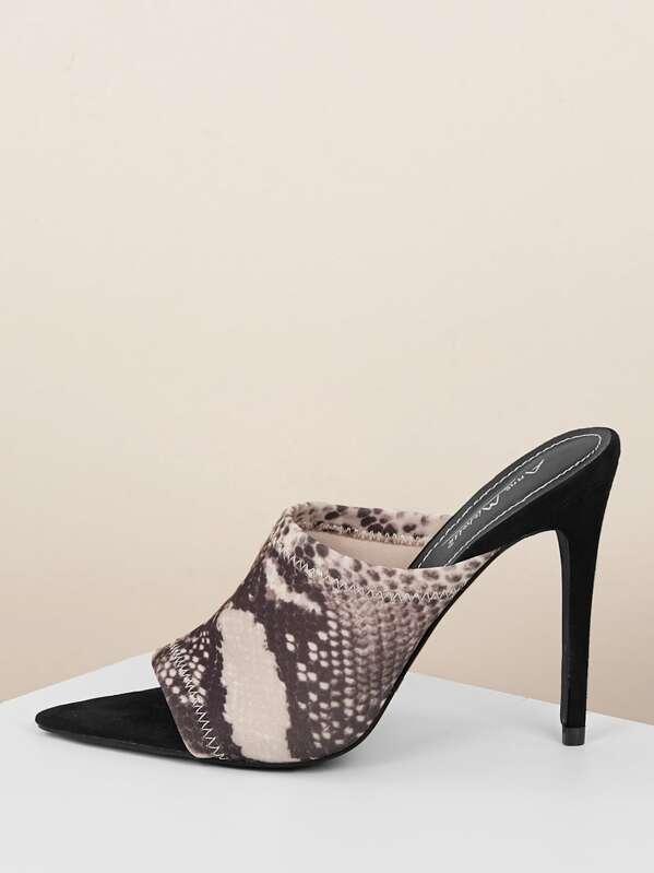 68cc8666e861d Open Toe Pointy Sole Snakeskin Stiletto Heel Mules