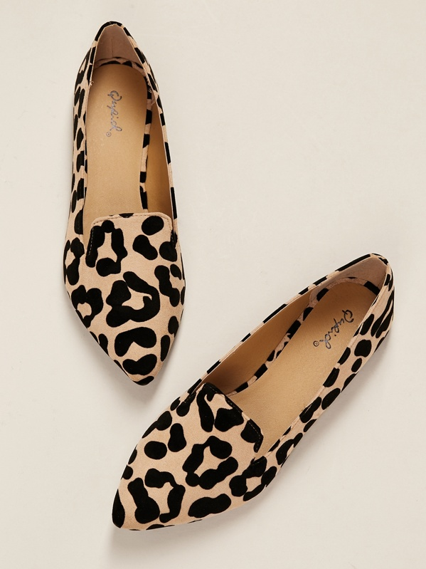 914569205bfe Leopard Print Pointy Toe Slip On Ballet Flats | SHEIN