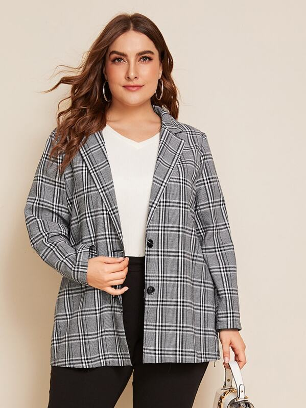 Shein Plus Notch Collar Single Breasted Plaid Blazer by Sheinside