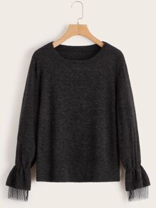 Solid Contrast Mesh Sweater