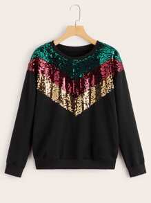 Contrast Colorful Sequin Sweatshirt