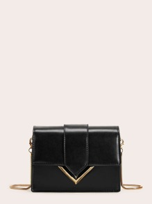 Metal Detail Flap Chain Bag