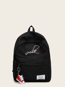 Shoes Charm Decor Letter Embroidered Backpack