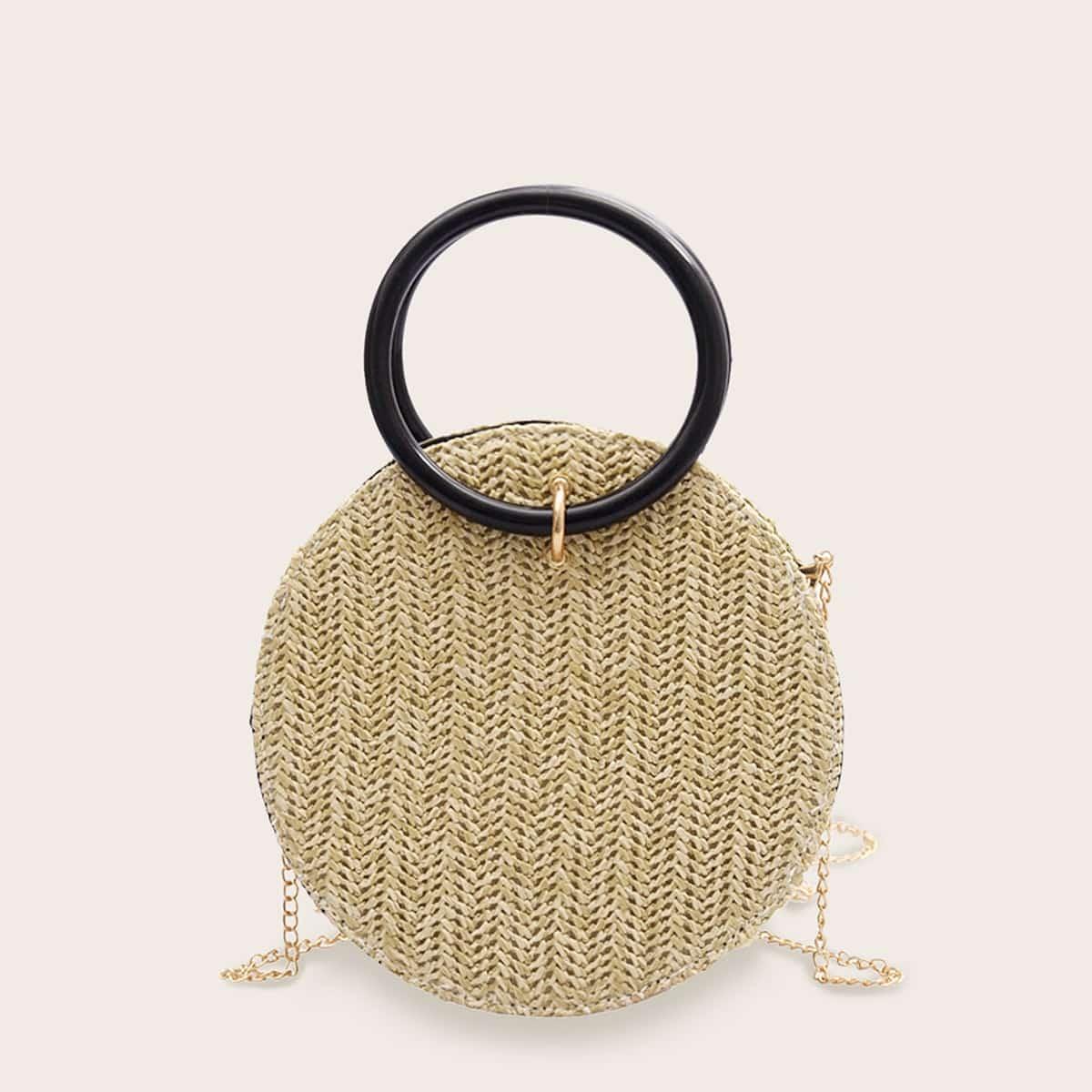 Плетеная круглая сумка с цепочкой и кольцевой ручкой