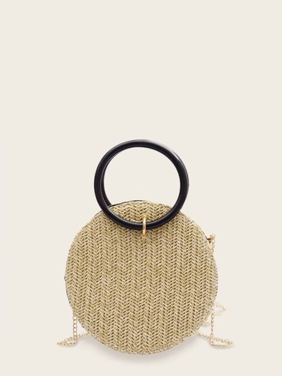 Woven Round Shaped Chain Bag With Ring Handle