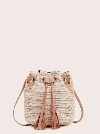 Tassel Decor Woven Bucket Bag With Drawstring