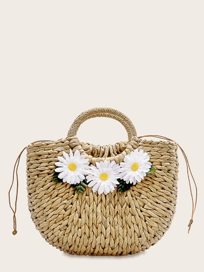 Daisy Applique Decor Woven Tote Bag
