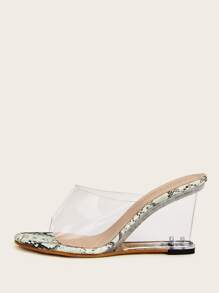 Open Toe Clear Snakeskin Detail Wedges