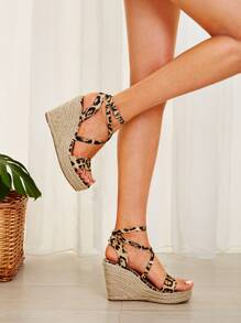 Leopard Print Ankle Strap Espadrille Wedges