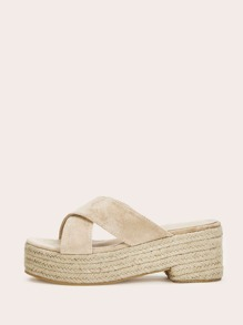 Faux Suede Cross Strap Espadrille Wedges