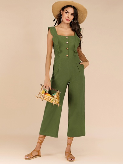 7f7d6ef8f958 Button Front Ruffle Trim Solid Jumpsuit