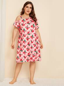 Plus Strawberry Print Night Dress