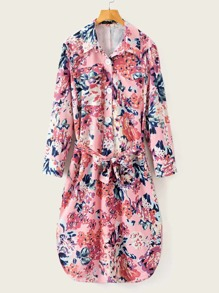 Floral Print Button Front Belted Dress