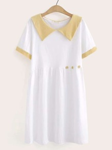 Contrast Salior Collar Button Decoration Smock Dress