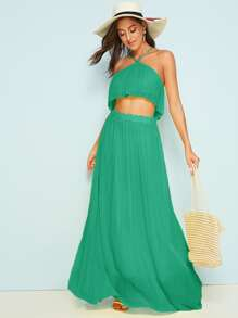 Solid Halter Neck Crop Top & Maxi Skirt