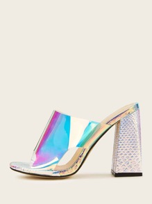 Iridescent Cut Out Chunky Heeled Mules
