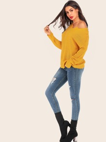 Sweetheart Neck Drop Shoulder Sweater