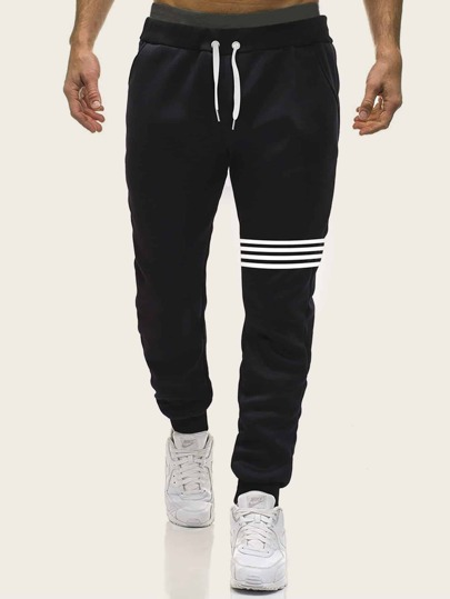 Guys Stripe Drawstring Waist Sweatpants