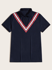 Men Chevron Print Polo Shirt
