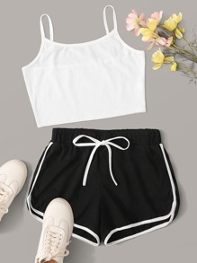 Solid Cami Top With Drawstring Waist Track Shorts