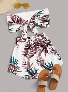 Tropical Print Tie Front Tube Top With Elastic Waist Shorts
