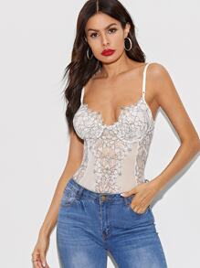 Contrast Lace Floral Print Skinny Bodysuit