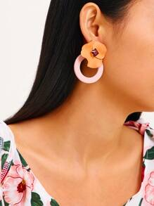 Flower Decor Ring Hoop Earrings 1pair
