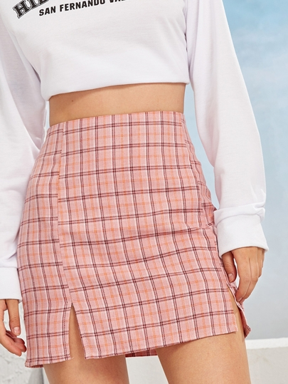 Random Plaid Side Slit Sheath Skirt