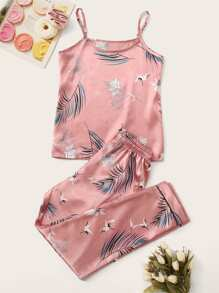 Crane & Tropical Print Satin Cami PJ Set