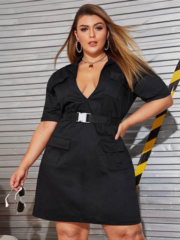 9d55be2404 Plus Pocket Front Deep V-neck Buckle Belted Dress