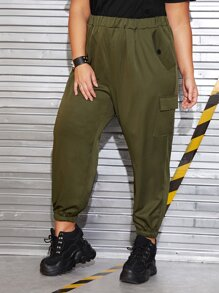 Plus Pocket Side Button Detail Elastic Waist Cargo Pants