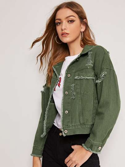 0b19549fcb5 Denim Jackets, Denim Jackets Sale -SHEIN(SHEINSIDE)
