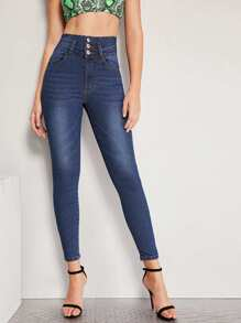 Button Front Skinny Ankle Jeans