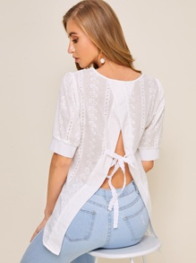 Eyelet Embroidery Tie Back Blouse
