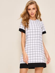 Contrast Binding Grid Plaid Tunic Dress