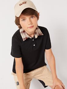 Boys Contrast Plaid Collar Polo Shirt