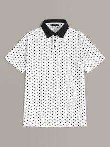 Men Contrast Collar Polka Dot Polo Shirt