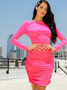 Neon Pink Low Back Ruched Dress