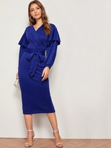Flounce Detail Lantern Sleeve Belted Pencil Dress