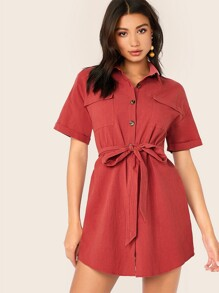 Collared Flap Pocket Patched Self Belted Shirt Dress