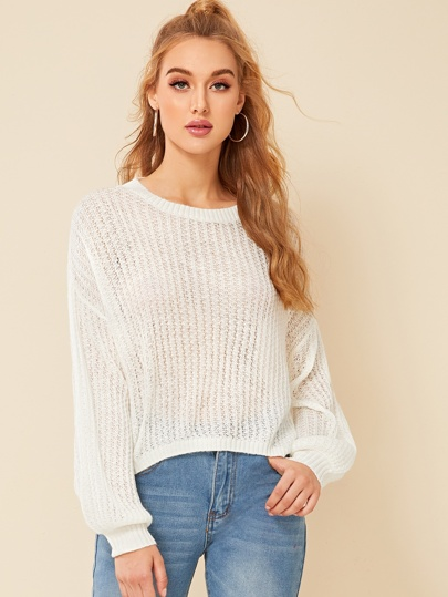 Drop Shoulder Lantern Sleeve Knit Top