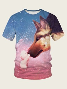 Men Galaxy & Dog Print Tee