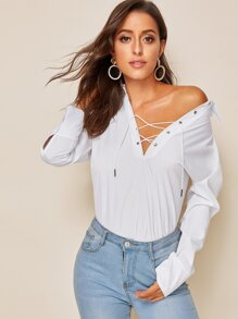 Lace-up Neck Solid Blouse