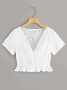 Deep V-neck Eyelet Embroidery Blouse
