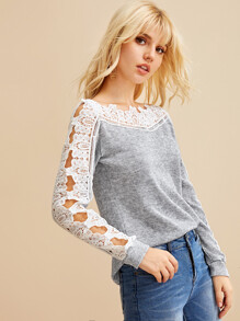 Lace Panel Off Shoulder Jumper
