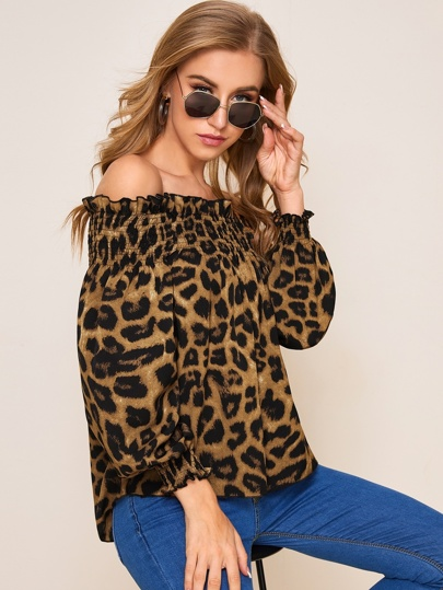 Leopard Shirred Frill Off Shoulder Top