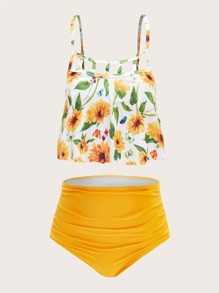 Plus Sunflower Print Top With Ruched Bikini Set