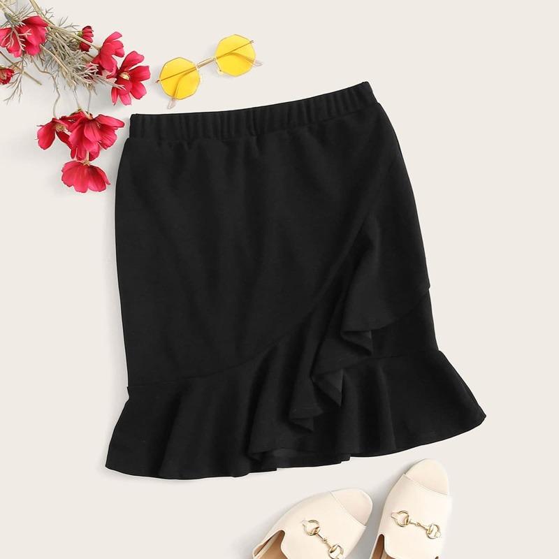Asymmetrical Flounce Hem Overlap Skirt, Black