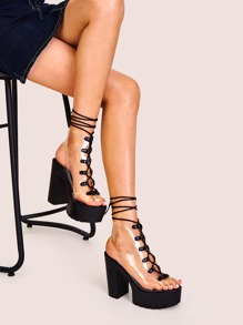 Peep Toe Slingback Clear Lace-up Chunky Heels